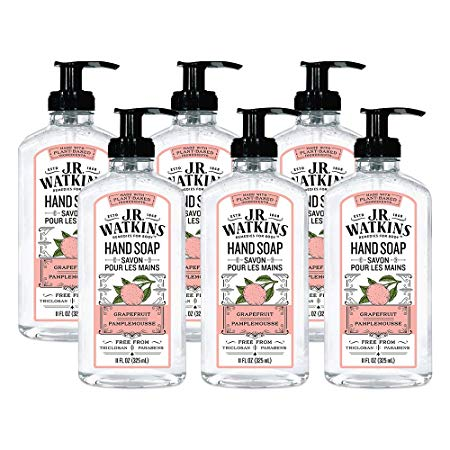 Amazon Com Jr Watkins Gel Hand Soap Grapefruit 6 Pack Scented Liquid Hand Wash For Bathroom Or Kitchen Usa Made And Cruelty Free Gel Cruelty Free Scent
