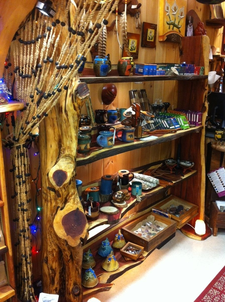 Cedar Tree Trunk Retail Display Shelf Retail Display Shelves Display Shelves Retail Display