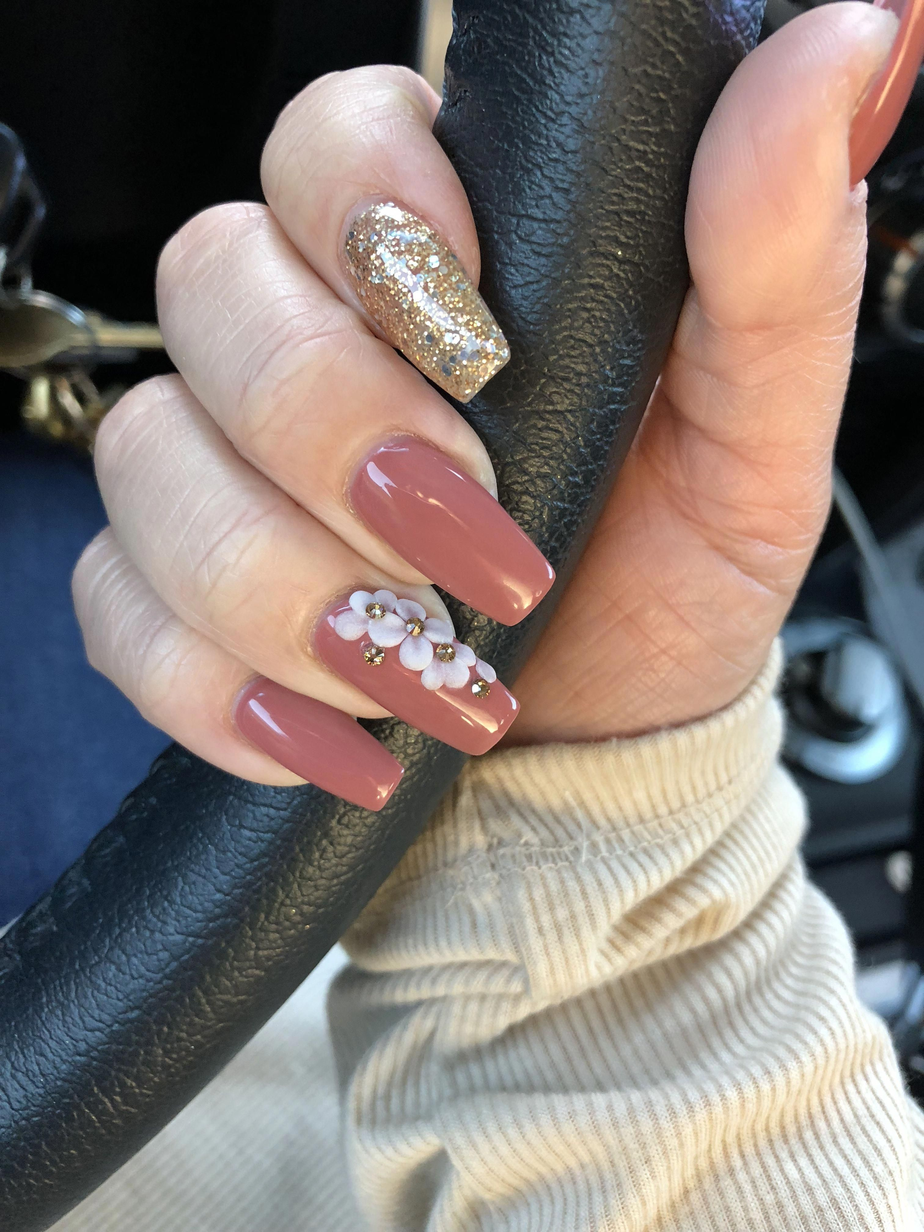 Coffin Nails With Acrylic Flowers Dnd Redwood City And Dnd Golden Gardens Wa Beautifulacrylicnails Acrylic Nails Coffin Pink Trendy Nails Flower Nails