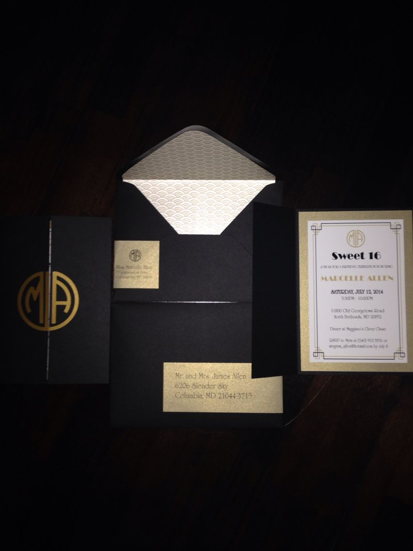 The Great Gatsby themed Sweet 16 Party Invitation. #custom ...