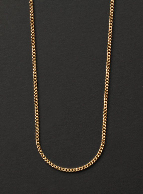 18k Solid Gold Filled Curb Chain Necklace Bracelet Italian 18ct Luxury Jewelry & Watches