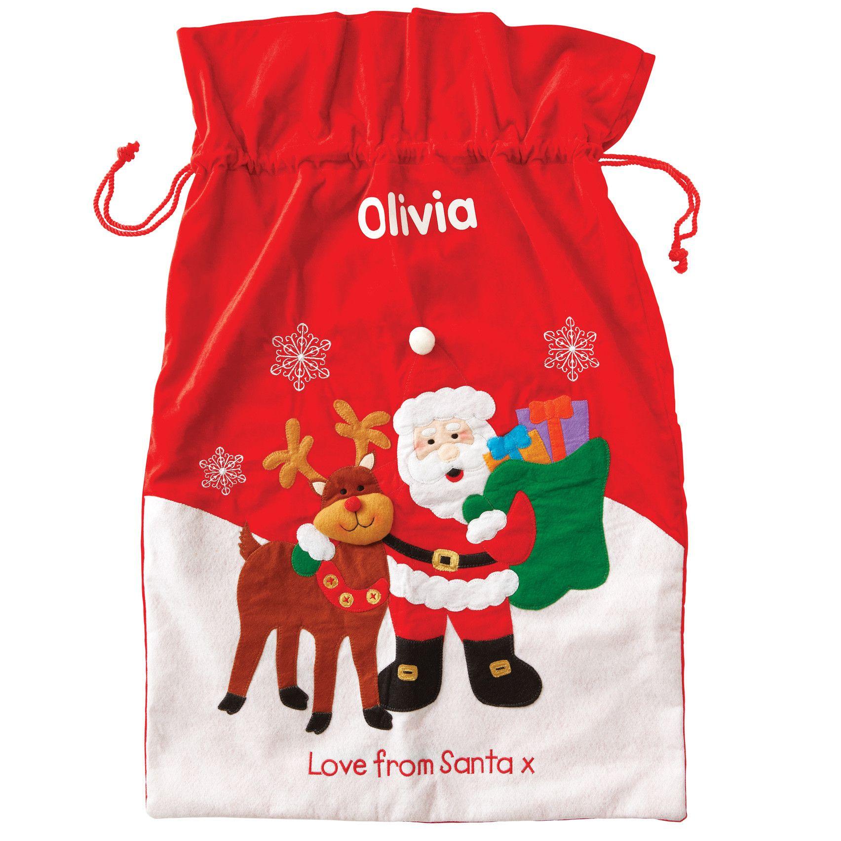 Personalised Santa And Reindeer Christmas Sack Hardtofind Reindeer Sack Santa And Reindeer Christmas Sack