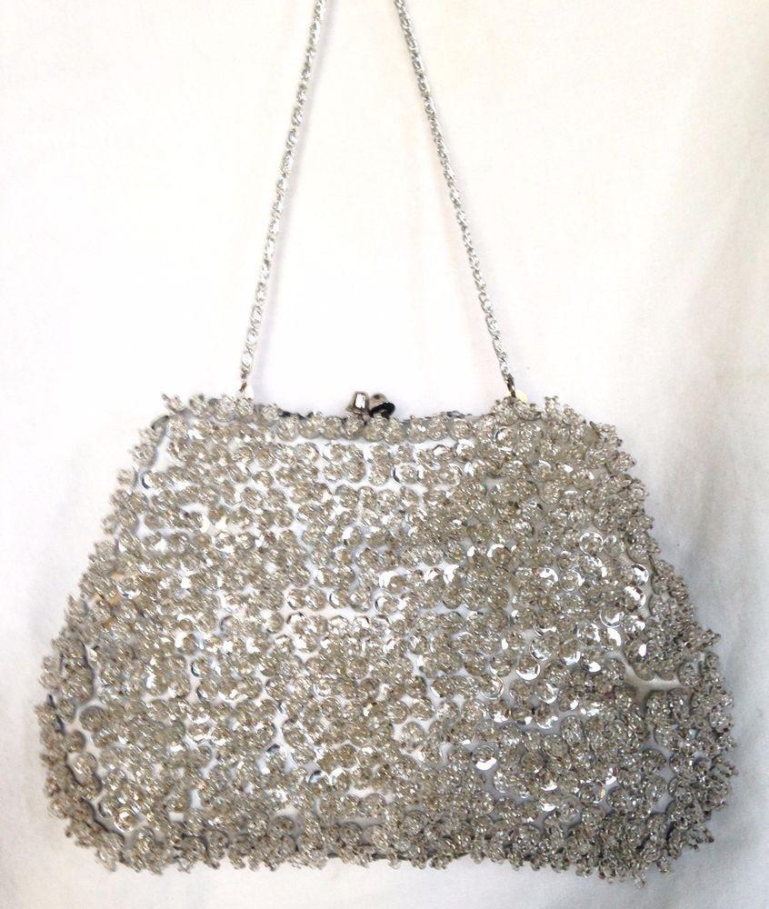 12ba21b18b Vintage 60's Silver Beaded Evening Bag/Clutch Hand Made in Hong Kong - Near  Mint #Handmade #EveningBag