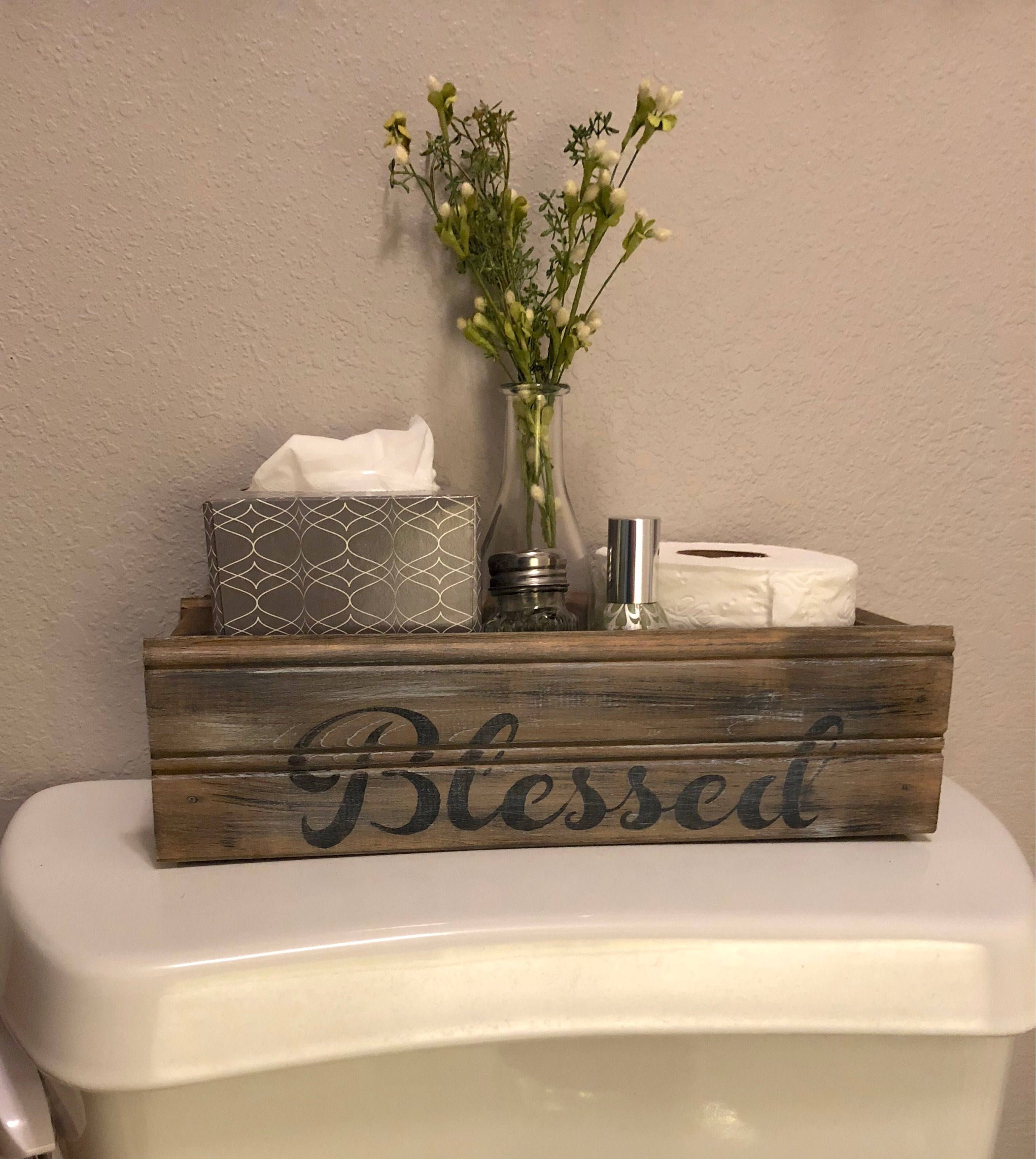 Blessed Farmhouse Style Box For Back Of Toilet Farmhouse Decor Table Centerpiece Mason Jar Crate Rustic Wood Crate Brown Stained Barn Decor Diy Home Decor Handmade Home Decor
