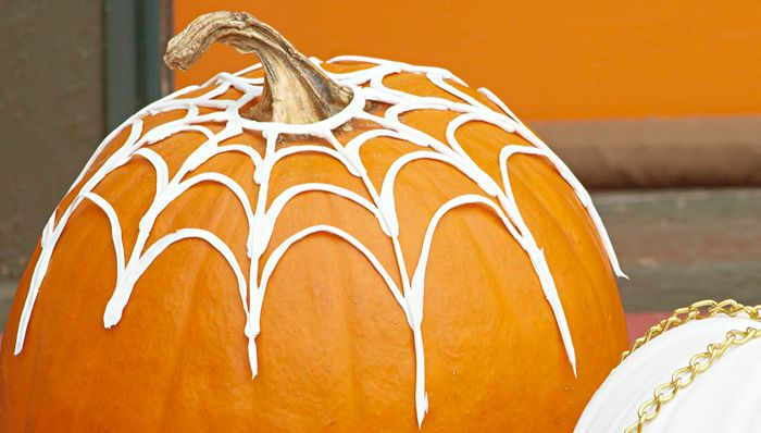 Pumpkin Spiderweb made with caulk Fall Ideas/Halloween Pinterest - lowes halloween