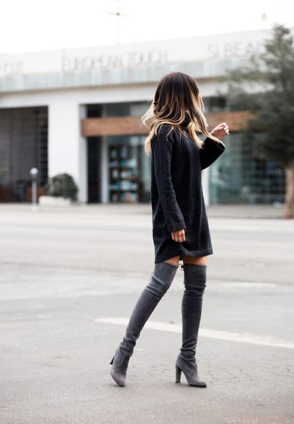 sweater tumblr grey sweater sweater dress long sleeves long sleeve dress  boots grey boots over the knee boots high heels boots ombre hair ac3ca4eeb