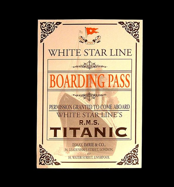 Titanic boarding Pass, via Flickr.