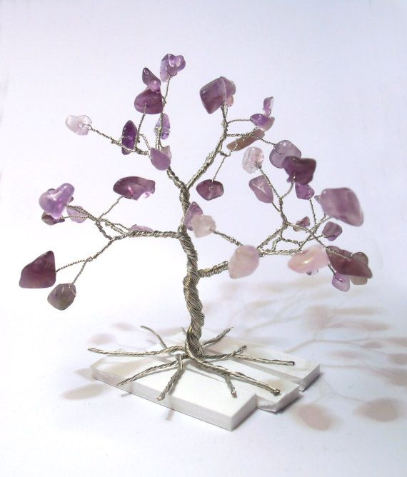 wire tree silver plated copper wire and amethyst by WireMyTree, $17.00