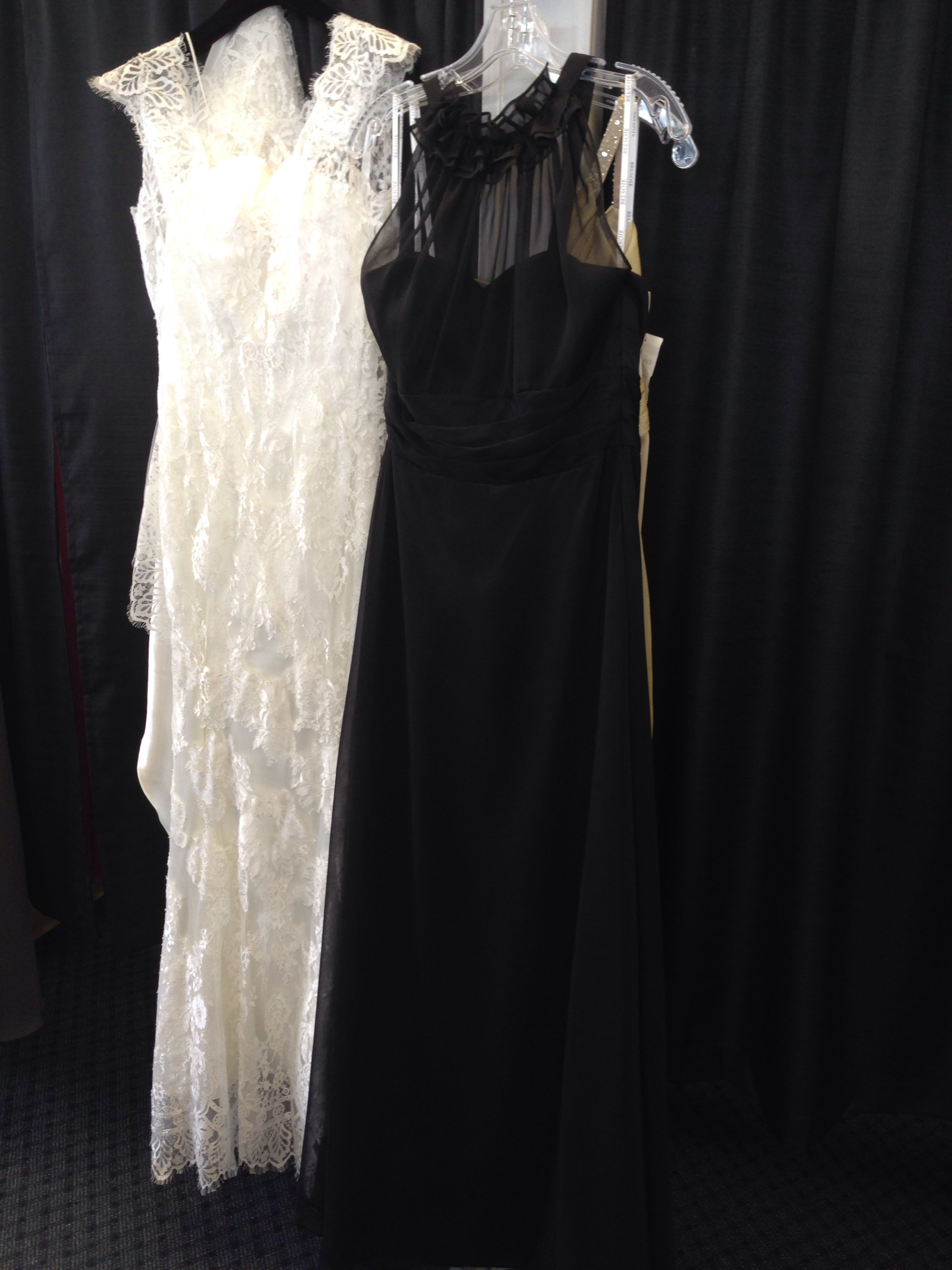The bridesmaid dress in black next to the color and similar feel of my dress, seen elsewhere on this board.