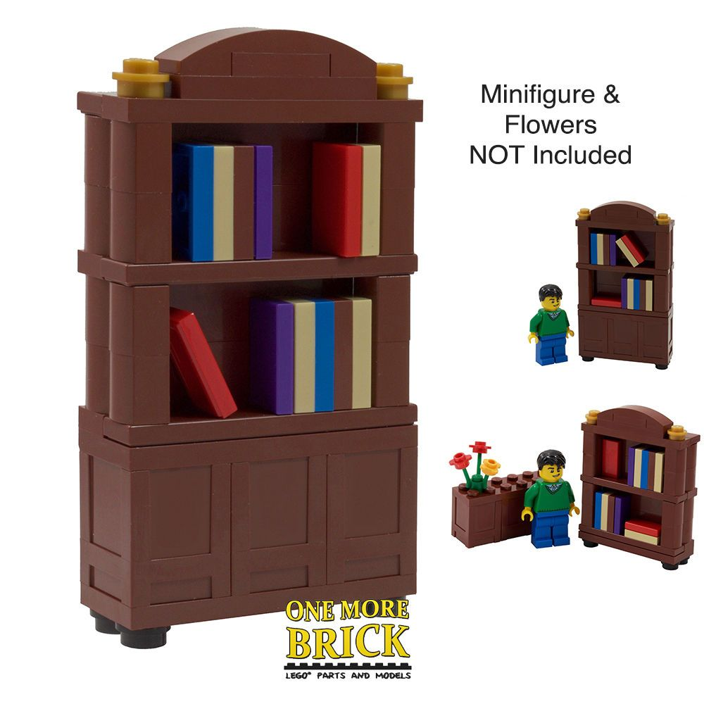 Bookcase Book Shelf Cupboard Library Inc 3 Printed Books All Parts Lego Ebay Lego Room Bookcase Bookcase Diy