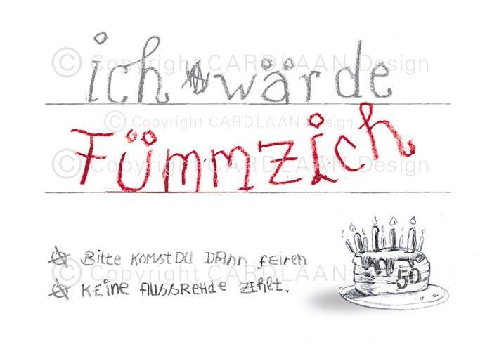 Einladung Geburtstag (Fümmzich)   . Lustige Einladungskarten Zum  Fünfzigsten Geburtstag! Verschicke Kreative Einladungen Zum Fünfzigsten:  Angebot Mit ...