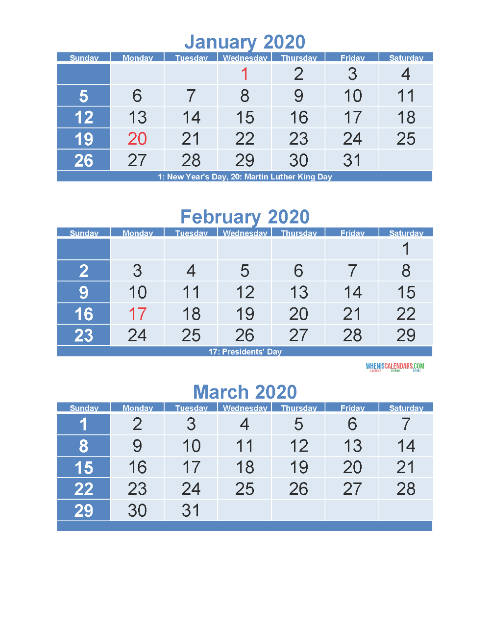 3 Month Calendar 2020 Printable January February March Free Printable 2020 Calendar Templates Calendar Template Calendar 2020 January February March