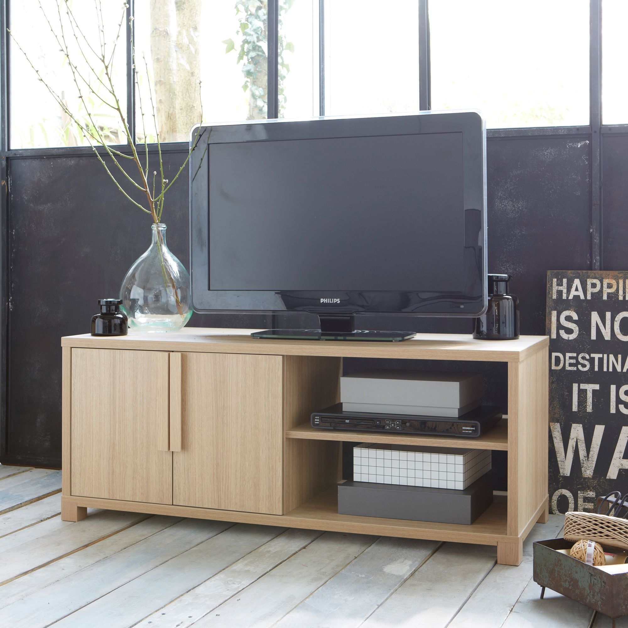 Meuble Banc Tv Hoari 2 Portes 2 Niches 3 Suisses Meubles Tv  # Meuble Banc Tv