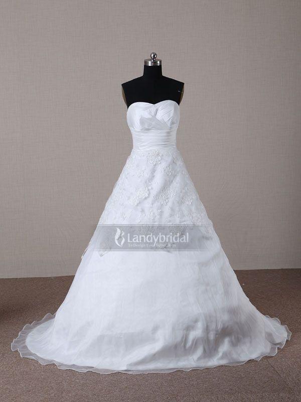 Ball Gown Sweetheart Court Train Organza White Wedding Dress H2lbld0899 $319 Ball Gown Wedding Dresses