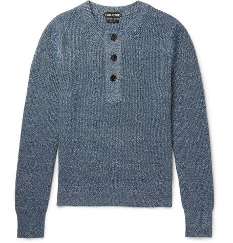TOM FORD Mélange Cashmere and Linen-Blend Henley Sweater. #tomford #cloth #knitwear