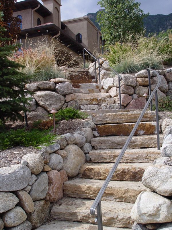 Best Round Stone Walls And Stone Slab Steps Mediterranean 400 x 300