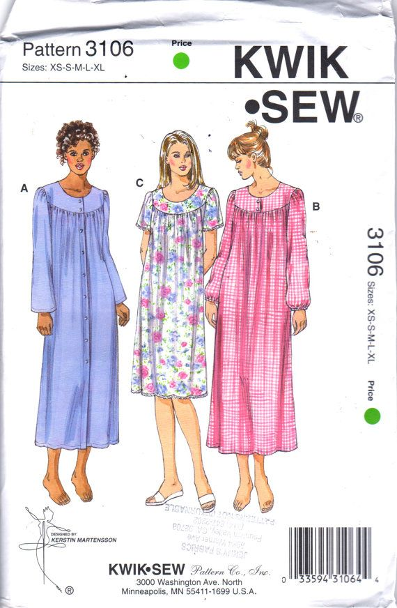 Kwik Sew 3106 Misses Nightgown Pattern Button Front or Pullover ...