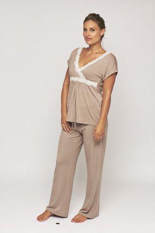Radiance by MamaMoosh - Short Sleeve Pyjamas in Mink (Maternity / Breastfeeding)