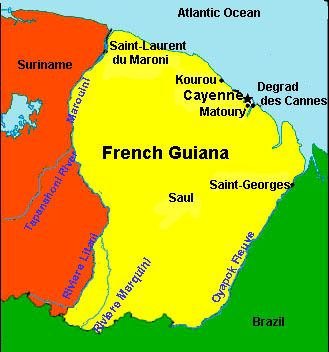 Map of French Guiana with their capital Cayenne South American