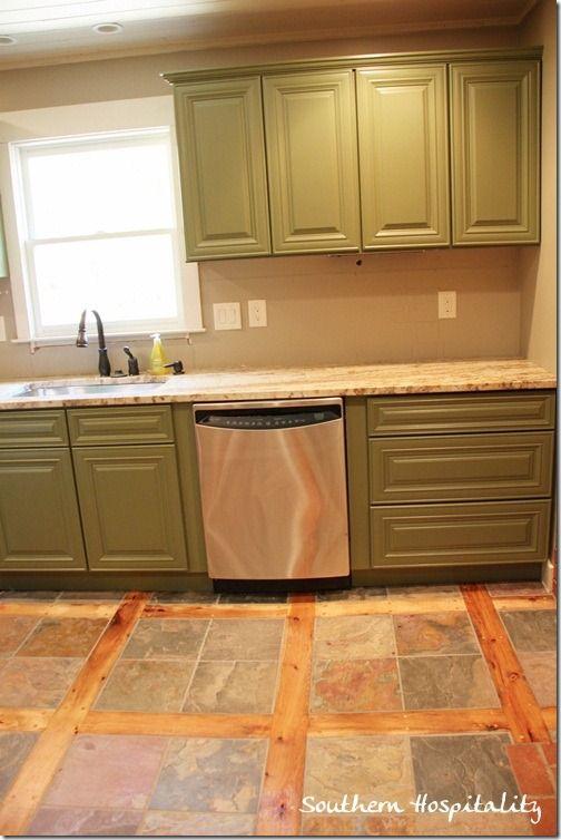 slate and wood floor