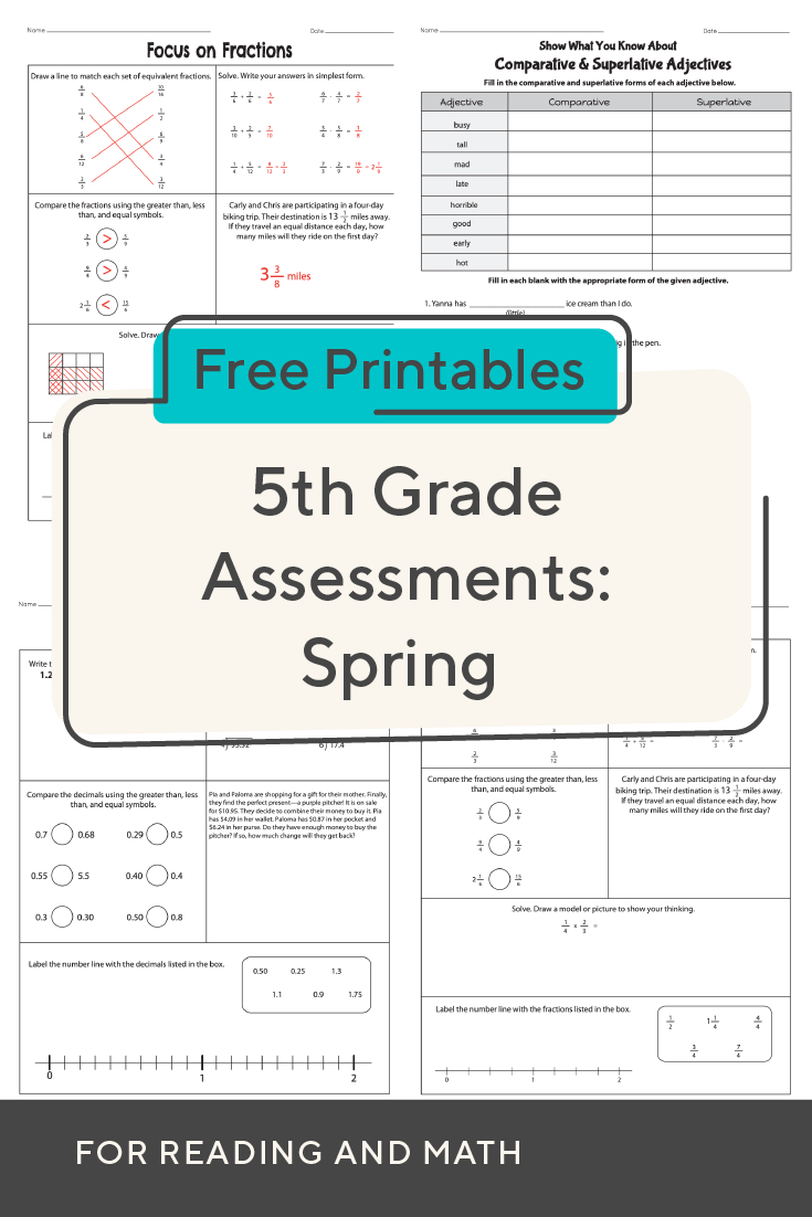 Evaluate Student Skills With These 5th Grade Worksheets For Spring Math And Ela Assessment Ed Student Skills 5th Grade Worksheets Kindergarten Lesson Plans [ 1102 x 735 Pixel ]