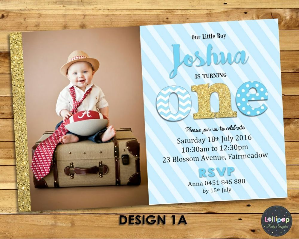 Boy invitation 1st birthday personalised photo invite first blue ...