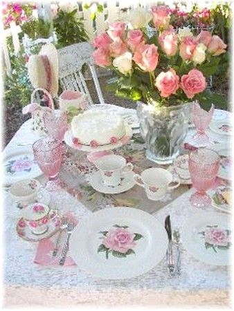 Pink Roses Afternoon Tea such a pretty table. & Tea_party_under_plum_tree_close_up_1__bis | TableScapes...Table ...