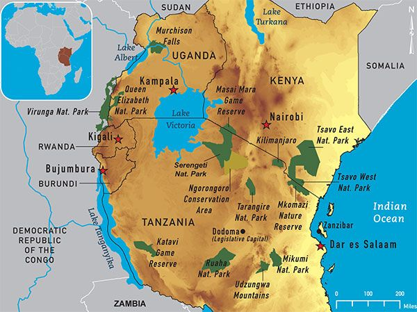 Map 4 12. East Africa destination map.national parks in East