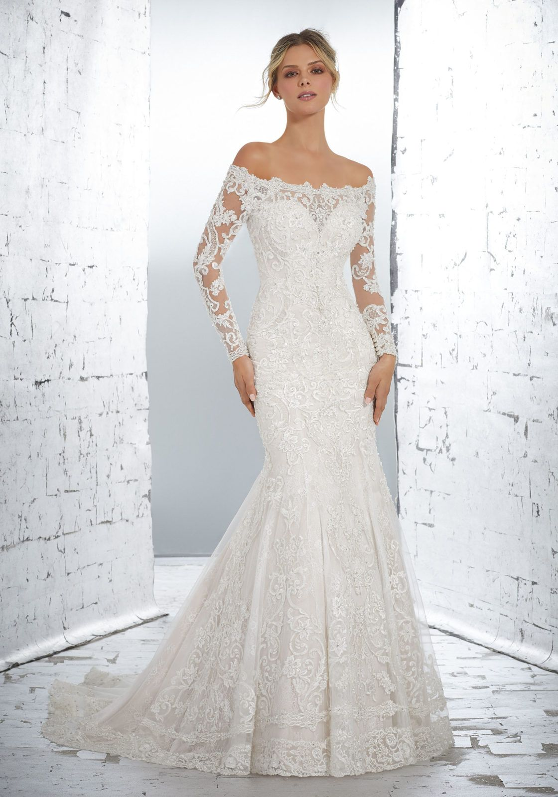 a4ac2a67d8d Morilee | Madeline Gardner, Lysandra Style 1717 | Classic Long Sleeve  Bridal Gown Featuring Crystal Beaded, Medallion Embroidered Appliqués on  Net Over ...