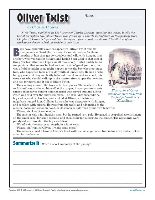 Oliver Twist 7th Grade Reading Comprehension Worksheet Reading  Comprehension Worksheets, 7th Grade Reading, Reading Comprehension