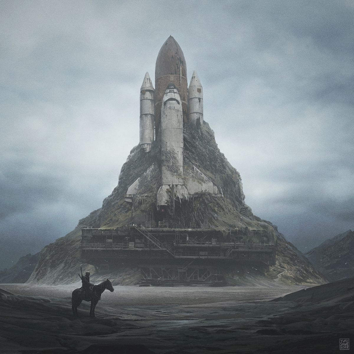 Post-apocalyptic series of landscapes. The illustrations shows the planet in the future, desert landscapes and the people lost in the ruins of civilization . Harmony of peace and silence.