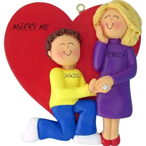 Marry Me Couple - Male Brunette/Female Blonde Personalized Ornament. This ornament and many more can be found at www.ornaments.com