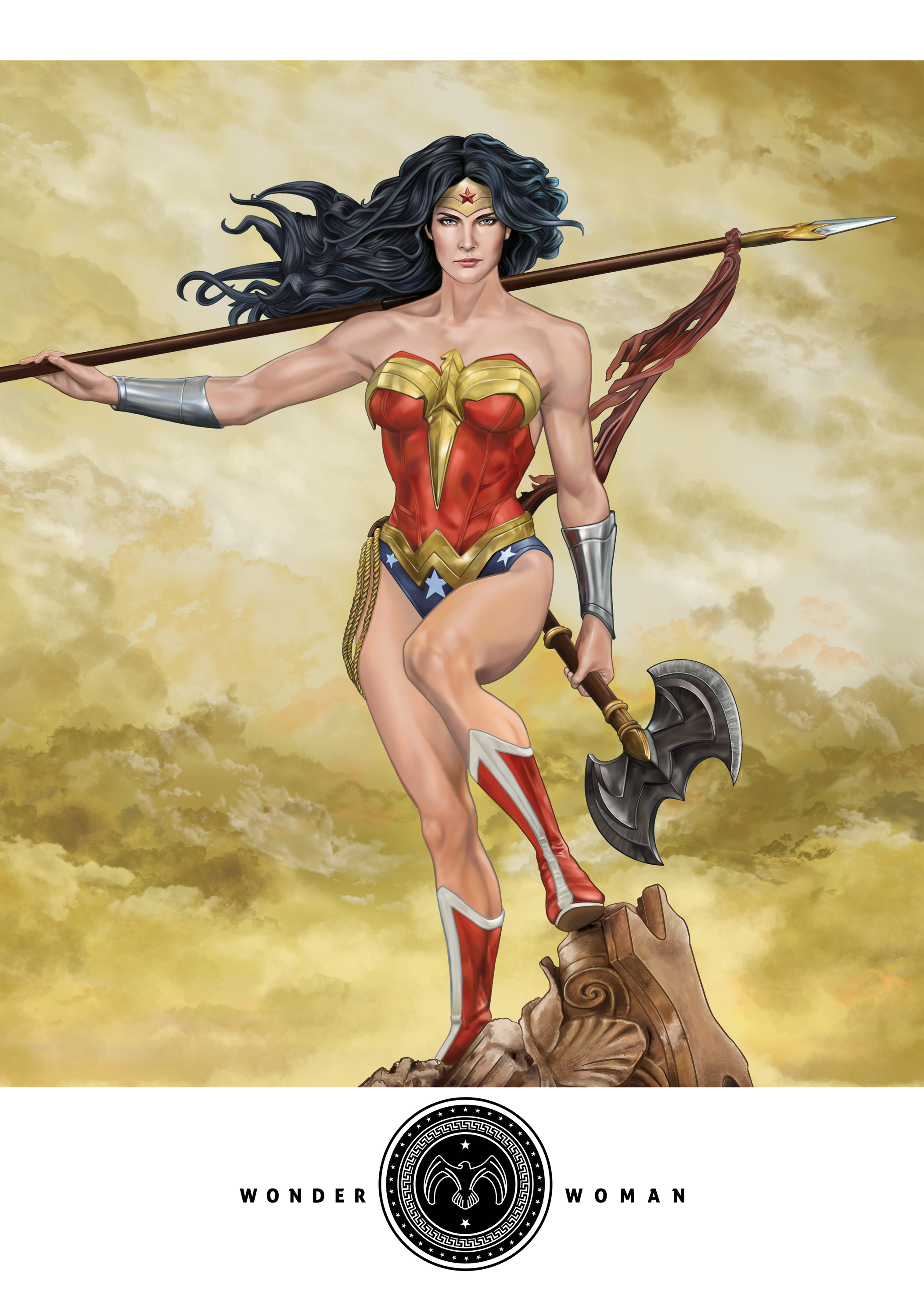 This is the actual way I envisioned my Wonder Woman print to be. Including the shield as a logo. With such a designer-esque layout, it becomes more premium & classy. An alternate version with left arm holding the shield instead of the axe will be done tonight after dinner. For Themyscira!!! Based on Sideshow Collectibles Wonder Woman PF Statue.