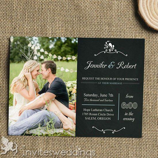 Black Chalkboard Photo Wedding Invitation Kits IWI317 Wedding