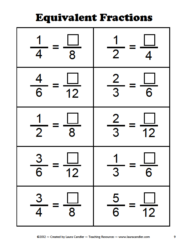 Equivalent Fractions Worksheet 6th Grade Teaching High School