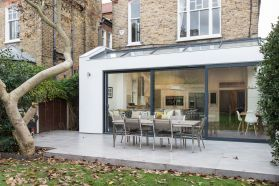 modern extension with glass sliding doors