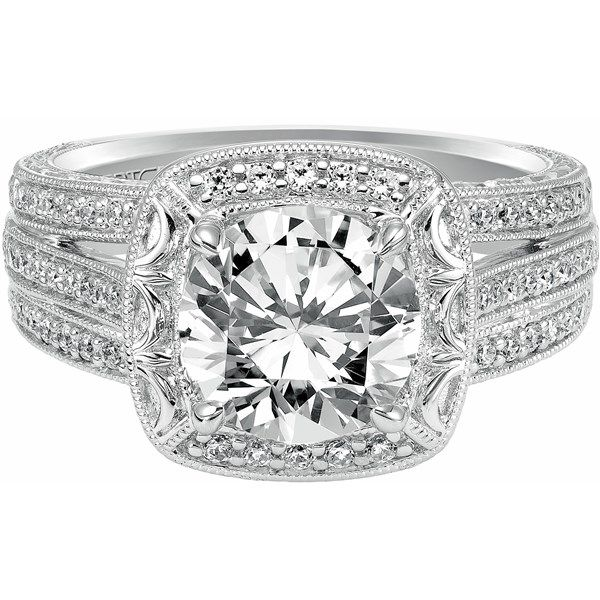Artcarved 14k White Gold Miriam Collection Hand Engraved Halo Design Pave Diamond Engagement Ring