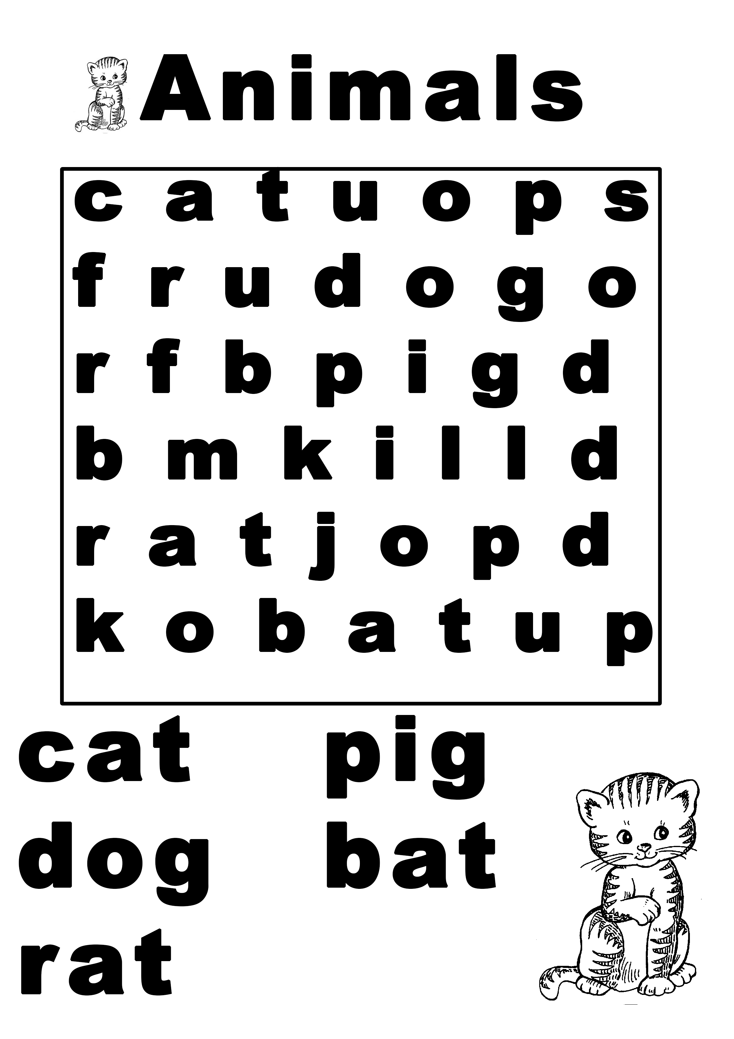 Three Letter Animal Words