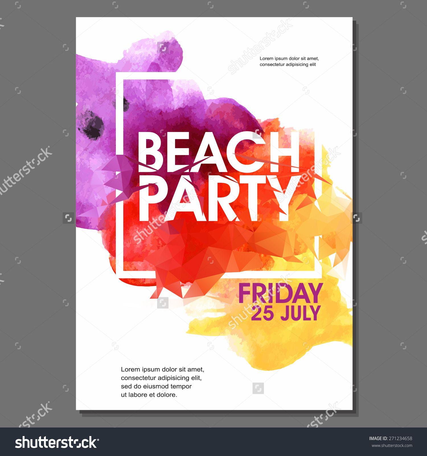 Summer night party vector flyer template eps10 design for Flyer vector