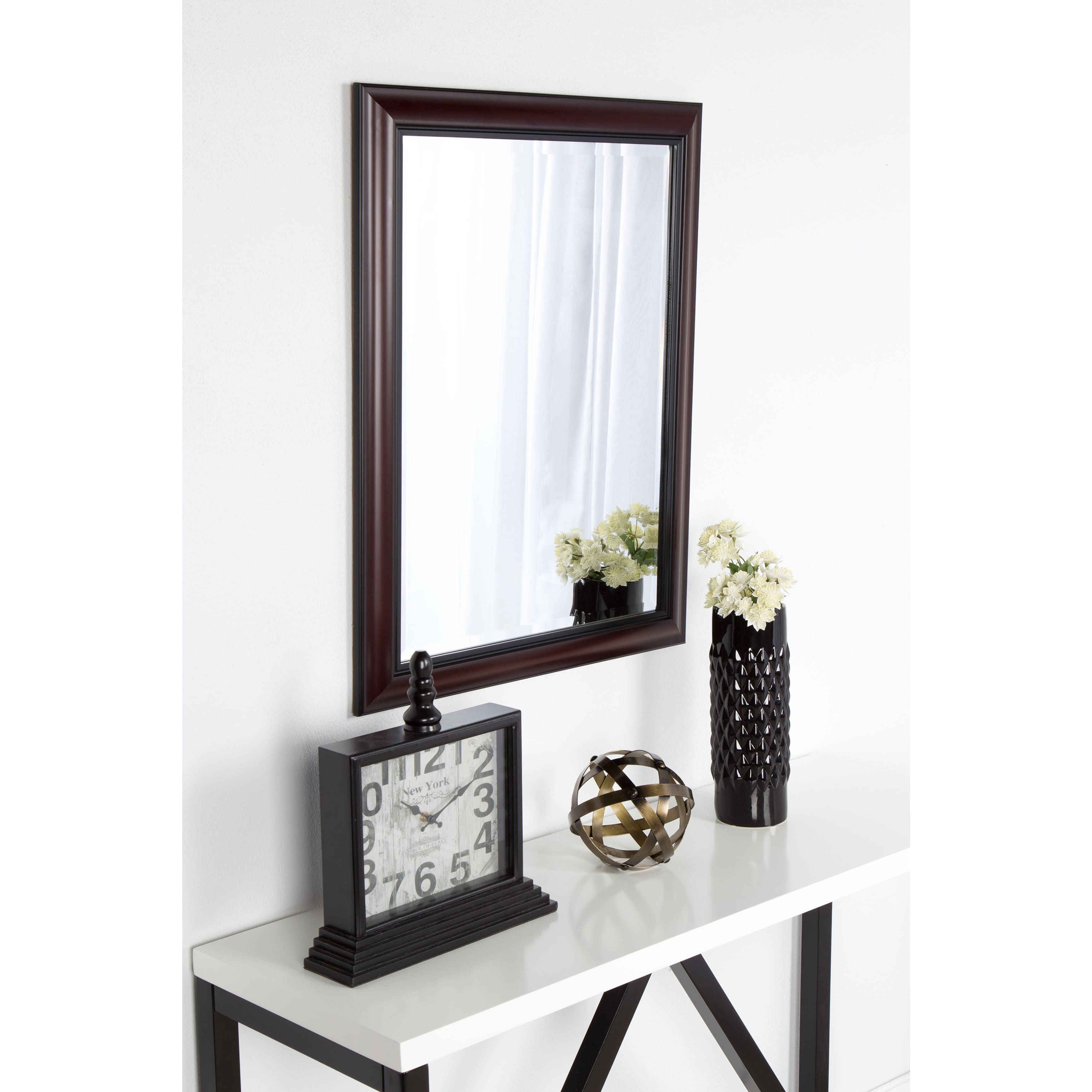 DesignOvation Dalat Cherry Framed Beveled Wall Mirror   Overstock ...