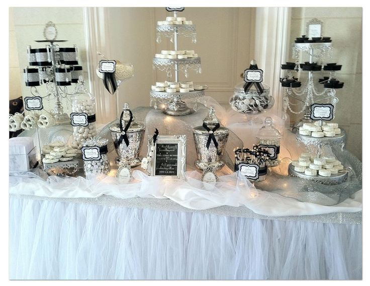 Diy Black And White Candy Bar Google Search White Candy Table White Candy Bars Wedding Candy