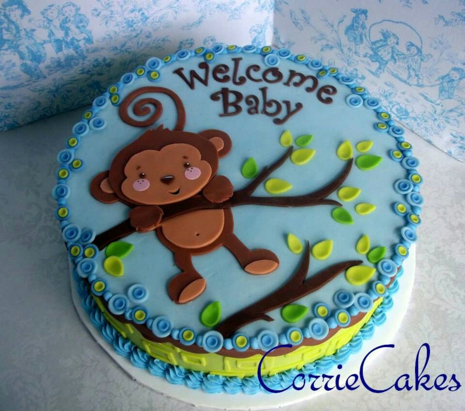 Monkey Baby Shower Cake With Images Safari Baby Shower Cake