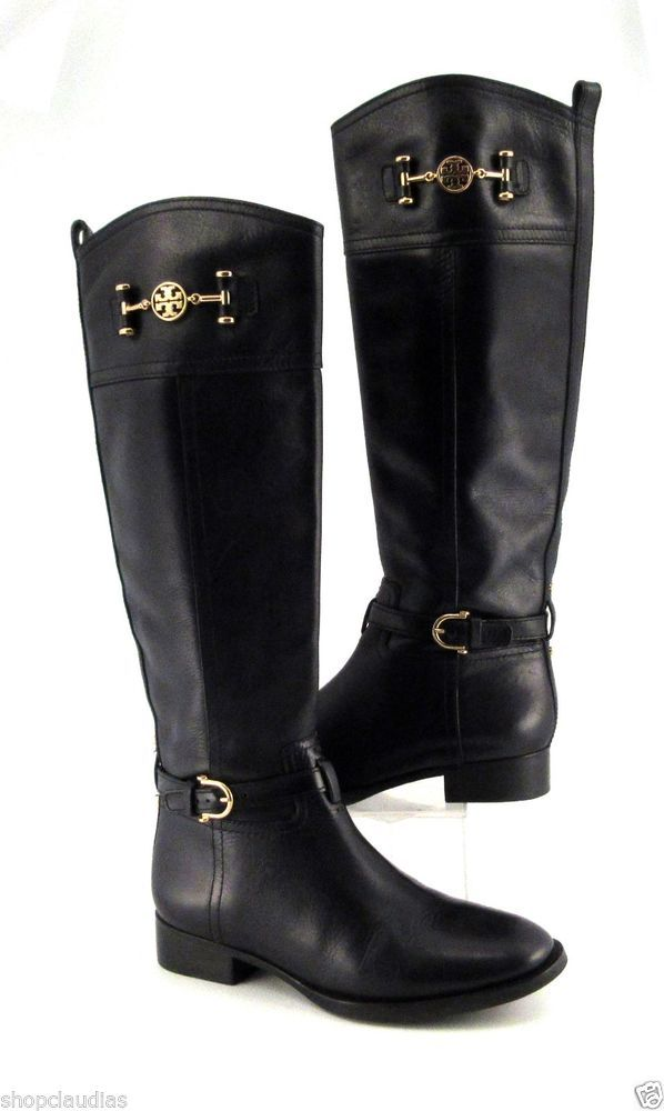 6cc7473abc8d5 Tory Burch Tall Black Leather Riding Boots w  Gold Logo Size 7 Medium   ToryBurch  RidingEquestrian  ShopClaudias  295.00