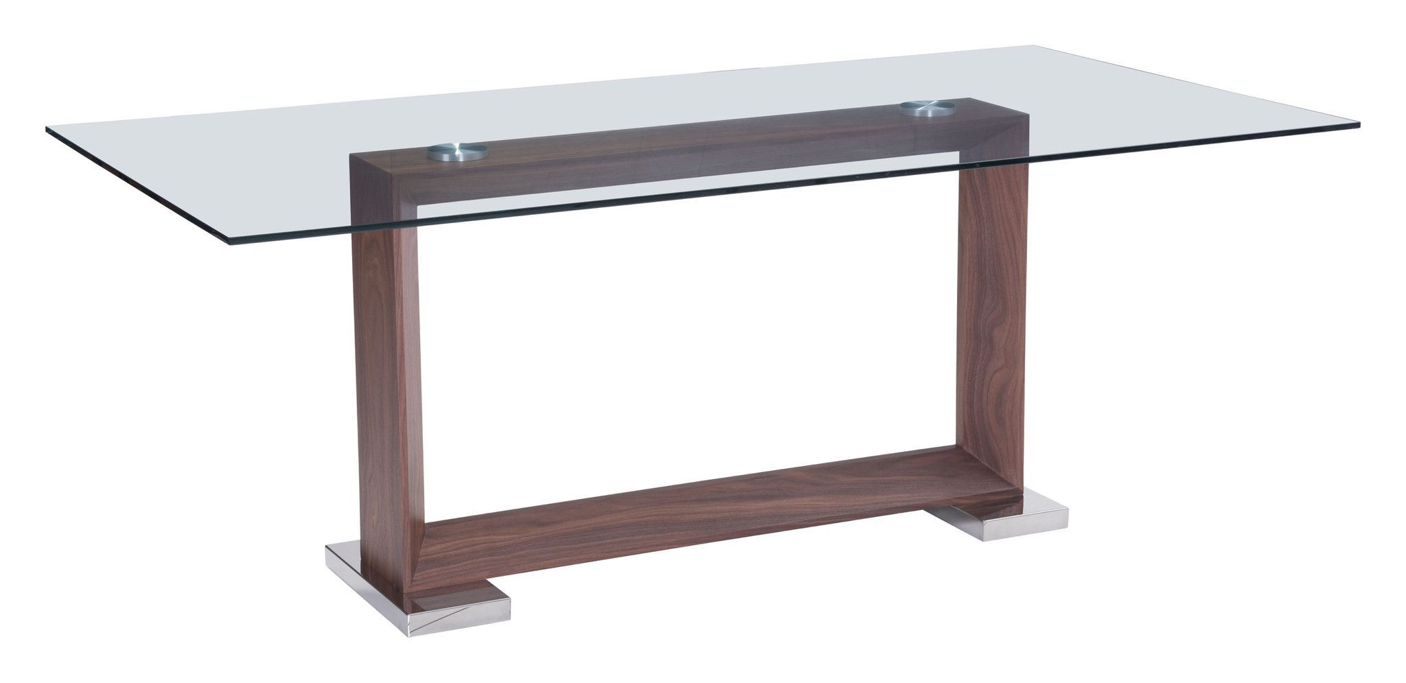 Oasis Dining Table With Open Rectangle Walnut Base Tempered