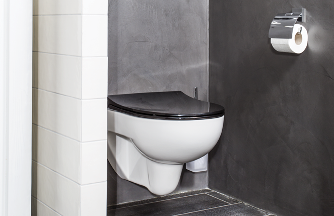 Riverdale badkamer toilet; Het muurtje geeft u privacy op het toilet ...