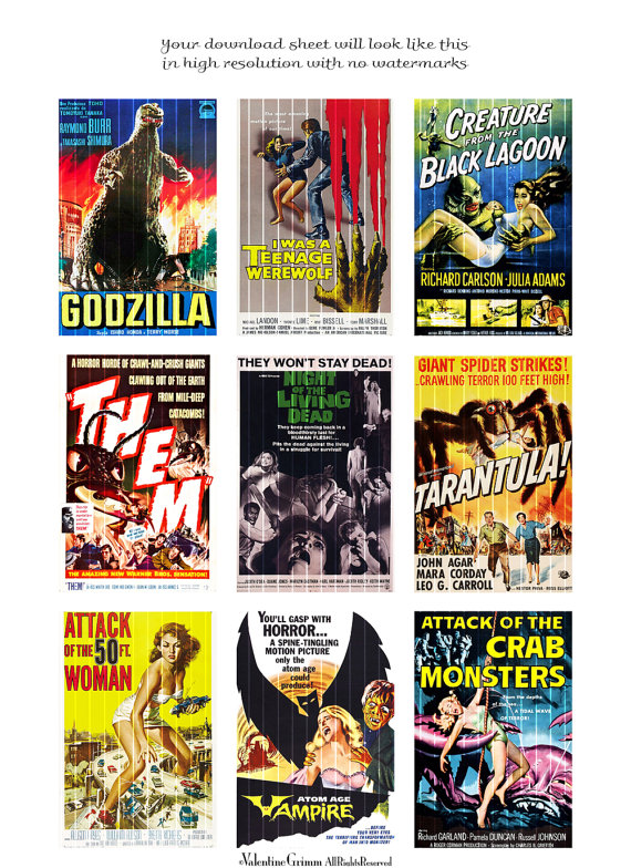 picture regarding Printable Movie Posters referred to as CREATURE Capabilities #2 electronic printable collage sheet for