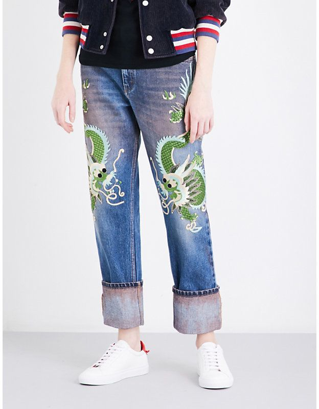 c98cea9abc Gucci Dragon-embroidered mid-rise straight jeans | Luxury Women's ...