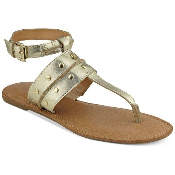 Tommy Hilfiger Linnea Flat Sandals ($59) ❤ liked on Polyvore featuring shoes, sandals, gold, gold strap sandals, gold shoes, flat strap sandals, studded flat sandals and flat shoes