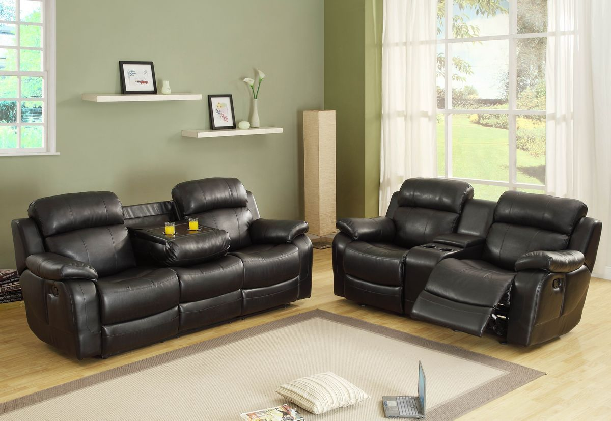 2 Pc Marille Collection Black Bonded Leather Match