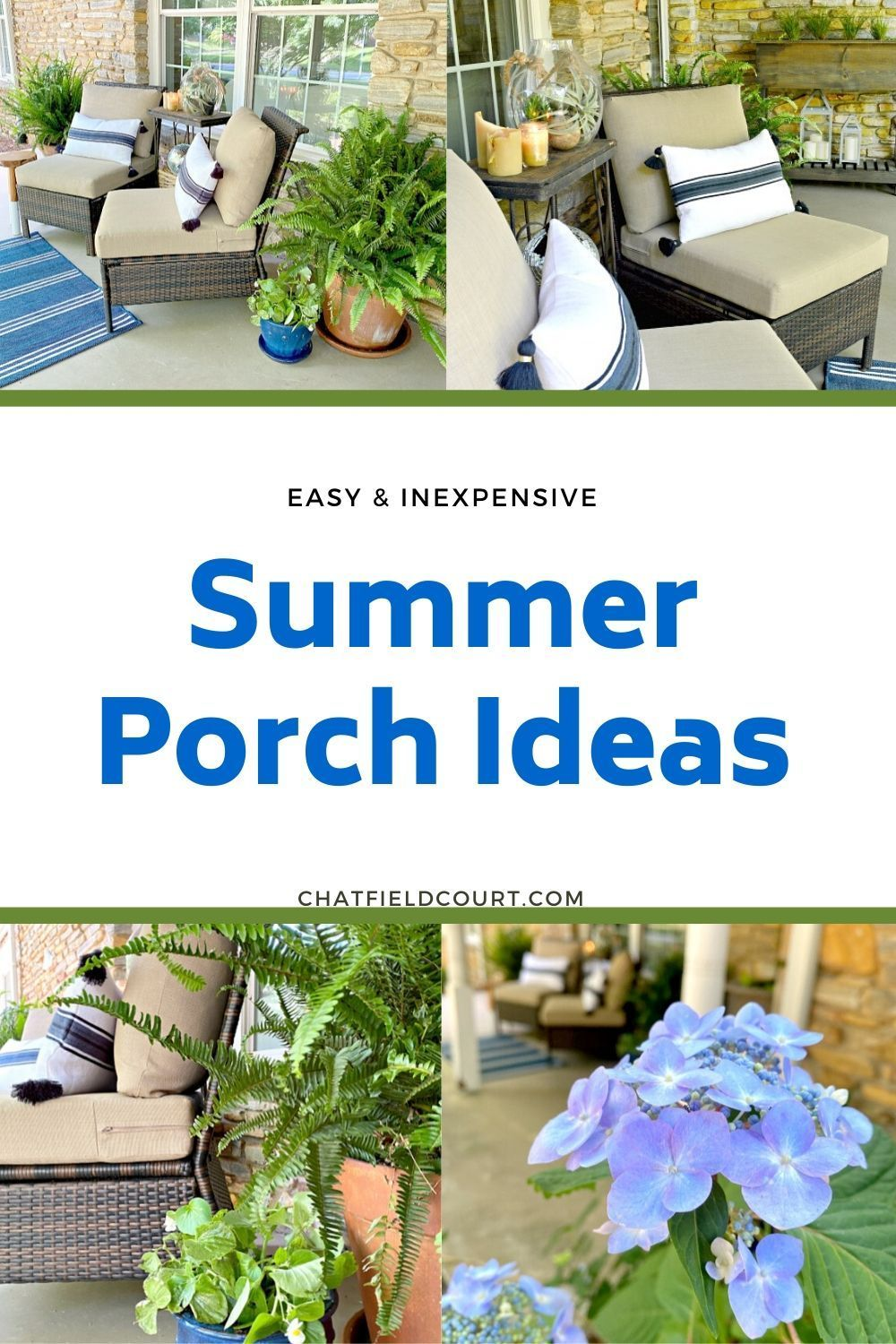 Easy summer porch ideas to help you create a welcoming and warm place for guests or for just hanging out. Budget friendly decor ideas like bringing indoor decor outside, using DIY candles and adding plants.